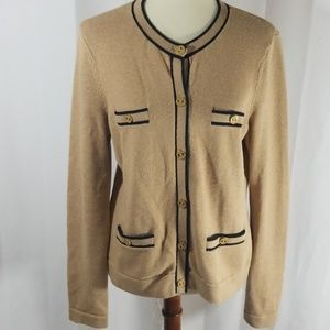C. Wonder beige cardigan with navy piping sz L